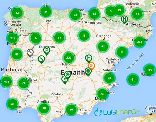 mapa postos carregamento elétrico