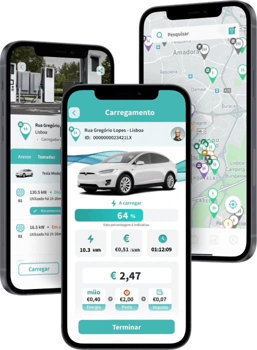 Miio app, mapa de postos de carregamento em Portugal